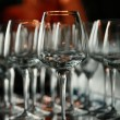 Wine glasses on the bar — Stock Photo