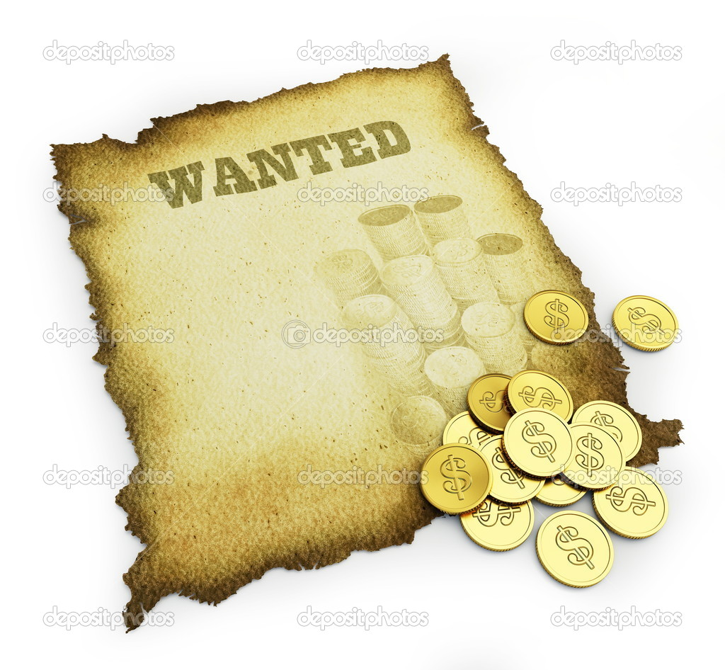 Wanted poster isolated on a white background — Stock Photo #4132445