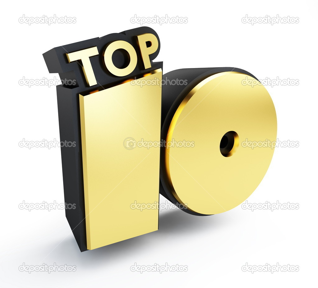 Top 10 gold text isolated on a white background  — Stock Photo #4132797