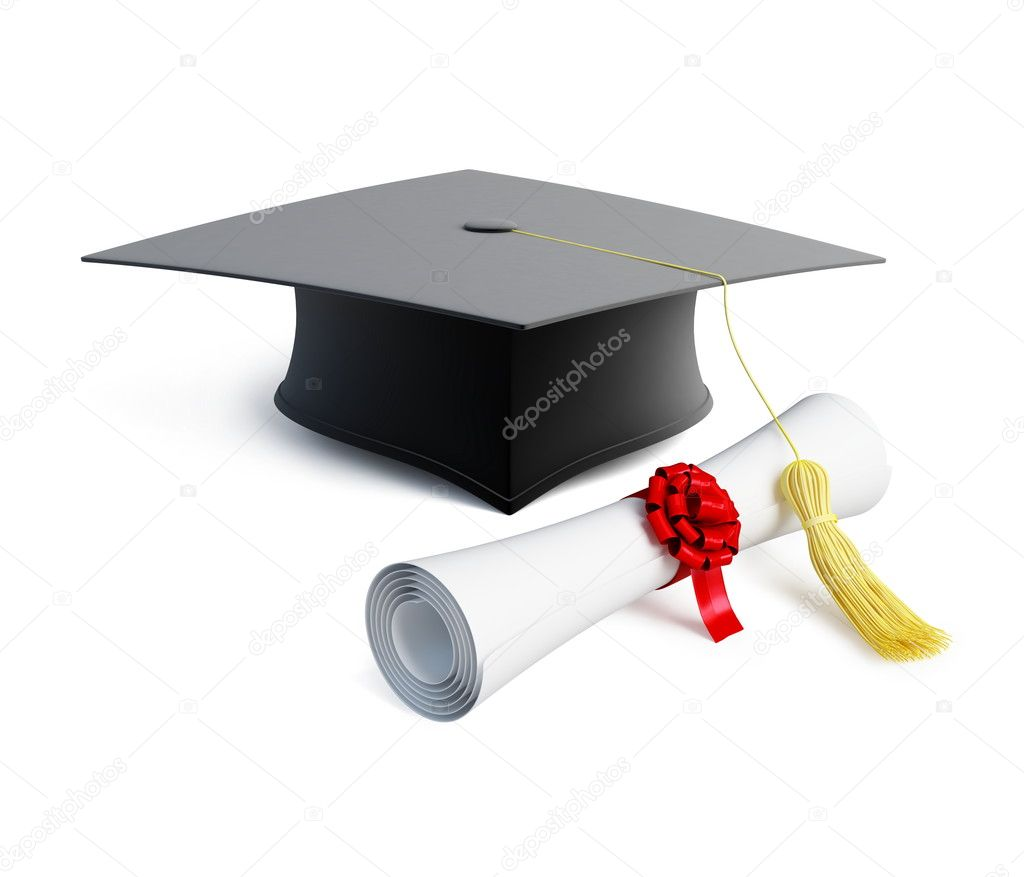 Graduation cap diploma isolated on a white background  — Stock Photo #4132992