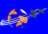 Bekämpa drift av stridsflygplan — Stockvektor