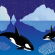 Stock Vector: Whales among icebergs
