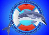 Aro salvavidas y delfín — Vector de stock