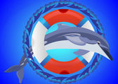 Lifebuoy and dolphin — Stock Vector