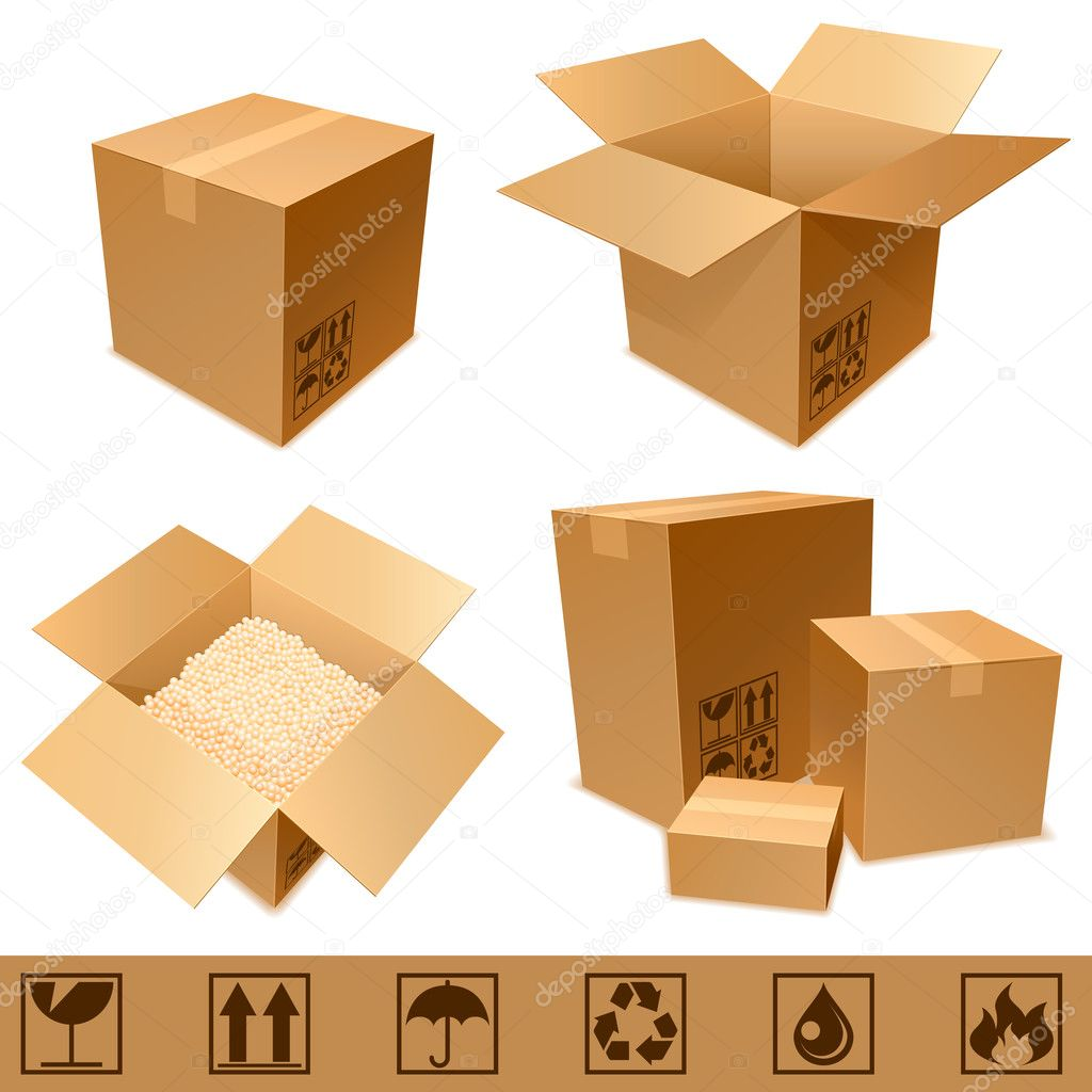Set of cargo cardboard boxes and signs. — Stock Vector #4554476