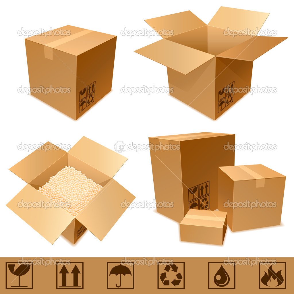 Set of cargo cardboard boxes and signs. — Imagen vectorial #4554476