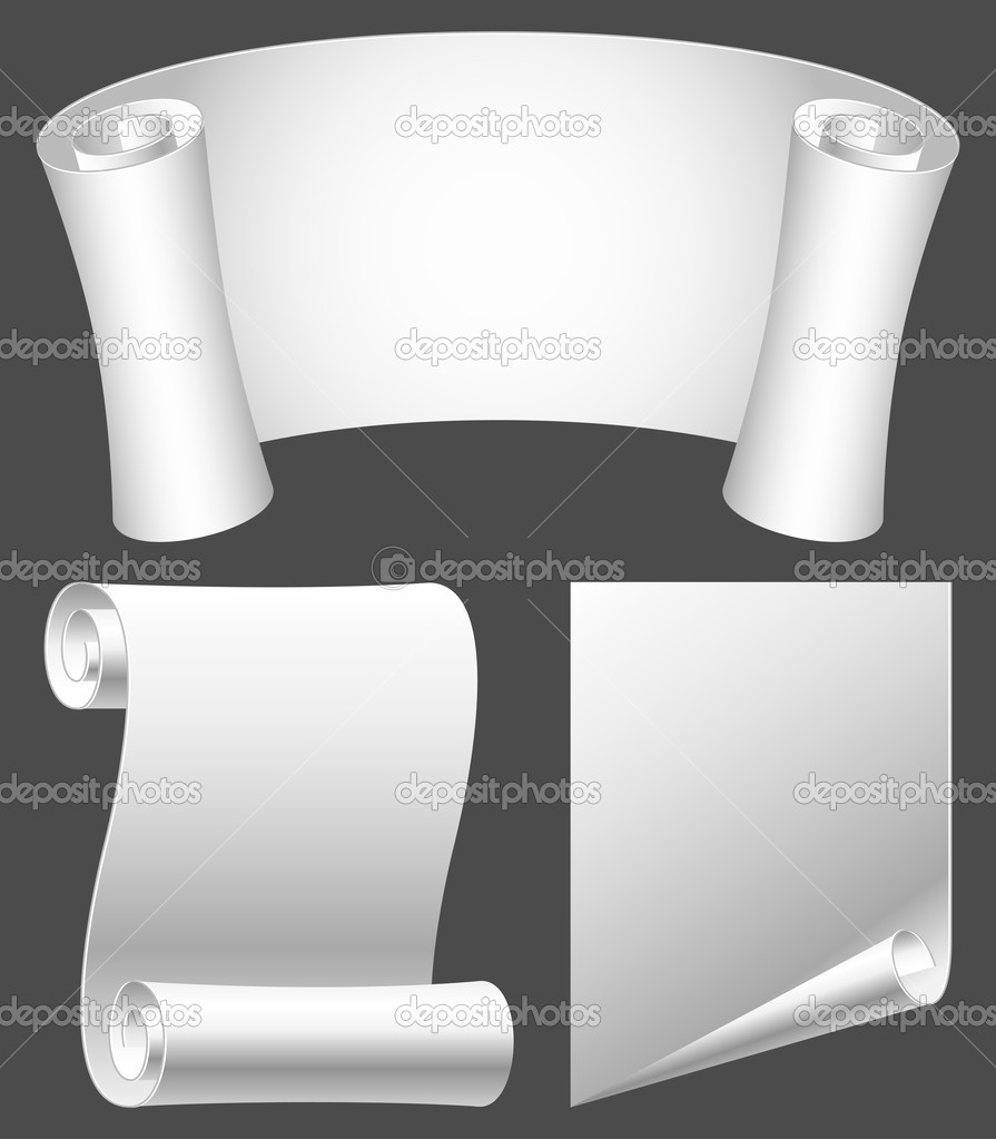 Set of white paper scrolls.  Stock Vector #4931082