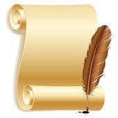Kağıt ve tüy. — Stok Vektör