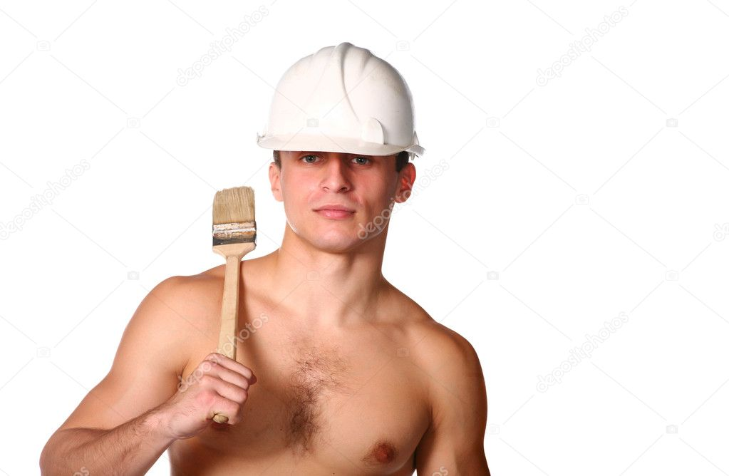 Handsome guy shirtless in hard hat and brash isolated on white — Stock Photo #4349459