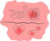 Amor floral rosa — Vector de stock