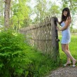 Rural scene with beauty girl. — Stock Photo