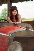 Young woman with old car. — Stock Photo