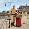 Couple of lady and soldier in retro style picture — Stock Photo