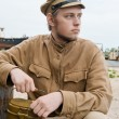 Soldier with boiler in retro style picture — Stock Photo