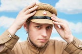 Portrait of soldier in retro style picture — Stock Photo
