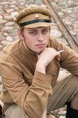 Foto di stile retrò con soldato di fumare. — Foto Stock