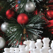 Start. White chess in Christmas decoration — Stock Photo