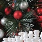 Start. White chess in Christmas decoration — Stock Photo #4793203