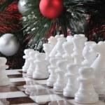 Start. White chess in Christmas decoration — Stock Photo #4793208