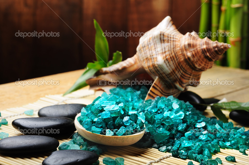 Toning sea crystals and shell — Stock Photo #4349505