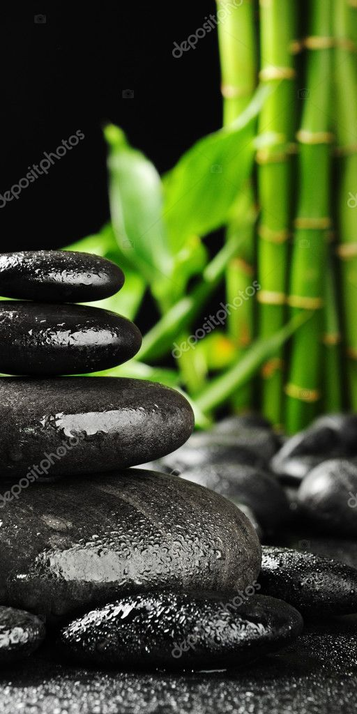 Zen stones and green bamboo in the water  Foto Stock #4810488