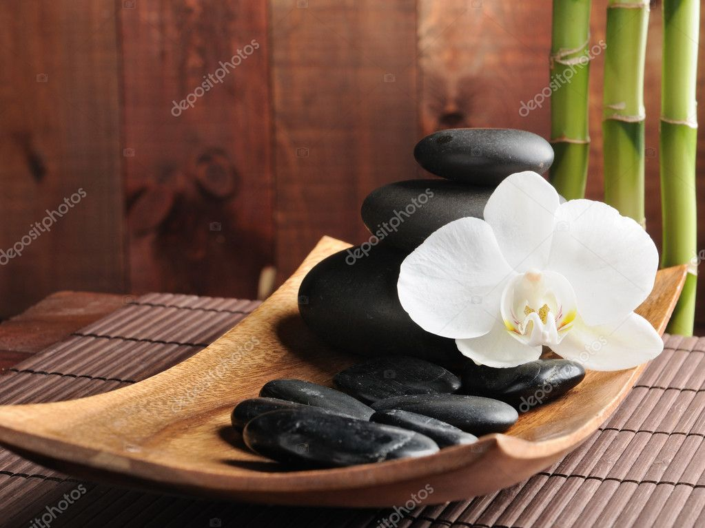 Spa concept zen stones and  orchid — Stockfoto #4810678