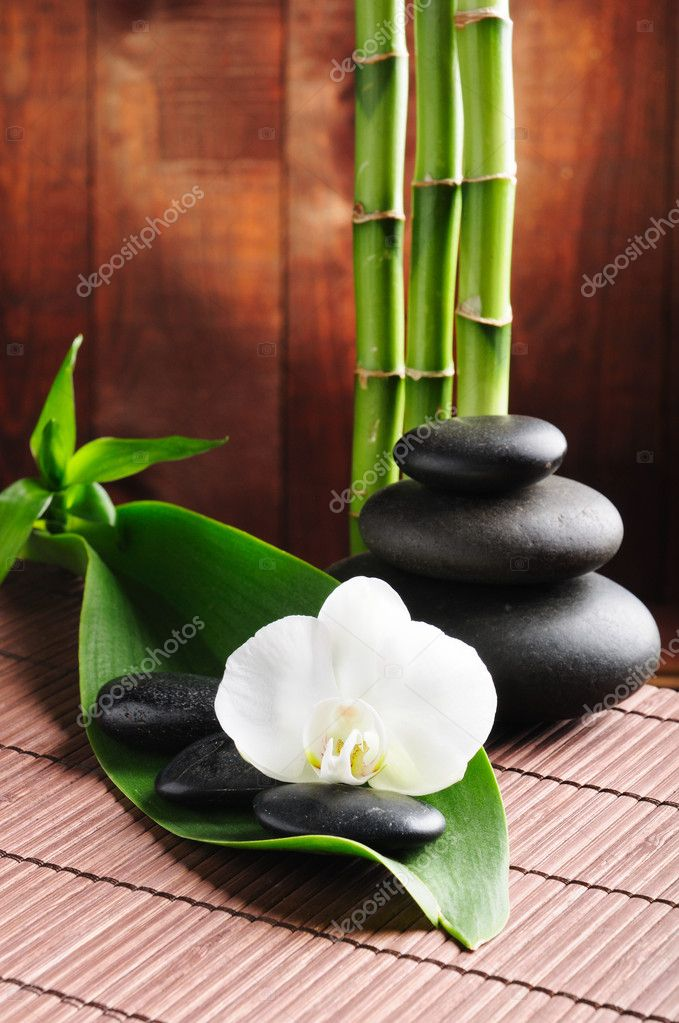 Spa concept zen basalt stones and  orchid  Foto de Stock   #4810891