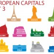 símbolos capitales europeas — Vector de stock
