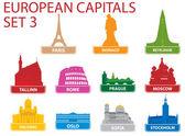 European capital symbols — Stock Vector