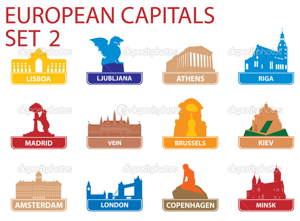 European capital symbols. Vector illustration. Set 2   Stock Vector #3964852