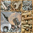 Assortment of rusty metal fasteners. Set — Stock Photo