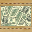 Picture frame and dollars — Stock Photo
