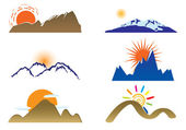 Mount and sun — Stock Vector