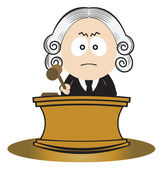 Judge using his gavel — Stock Vector