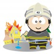 Firefighter - Stock Vector