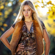 Beautiful woman portrait in natural autumn - Stok fotoğraf