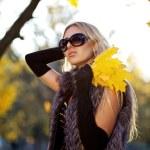 Beautiful woman portrait in natural autumn — Stock Photo #4661650