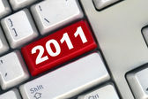 Keyboard with red button 2011 New Year — Stock Photo