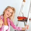 Stock Photo: Woman starting renovations