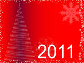 Illustration of christmas tree and New 2011 — Stock Photo