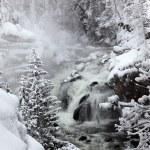 Falls in Yellowstone National Park in winter season, USA — Stock Photo