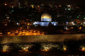 Classic Israel - Night view of Temple Mount with Dome of the Ro — Stockfoto