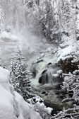 Falls in Yellowstone National Park in winter season, USA — Stock Photo