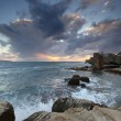 Classic Israel - Sundown in the mediterranean at city of Acre in - Stock Photo