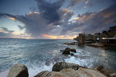 Classic Israel - Sundown in the mediterranean at city of Acre in — Stock Photo