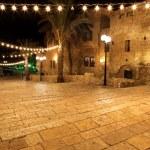 Classic Israel - Old street of Jaffa, Tel Aviv in the night — Stock Photo