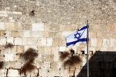 Classic Jerusalem - Flag of Israel background Wailing Wall (Kote — Stock Photo