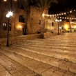 Old street of Jaffa city, Tel Aviv in the night, Israel - Stock Photo