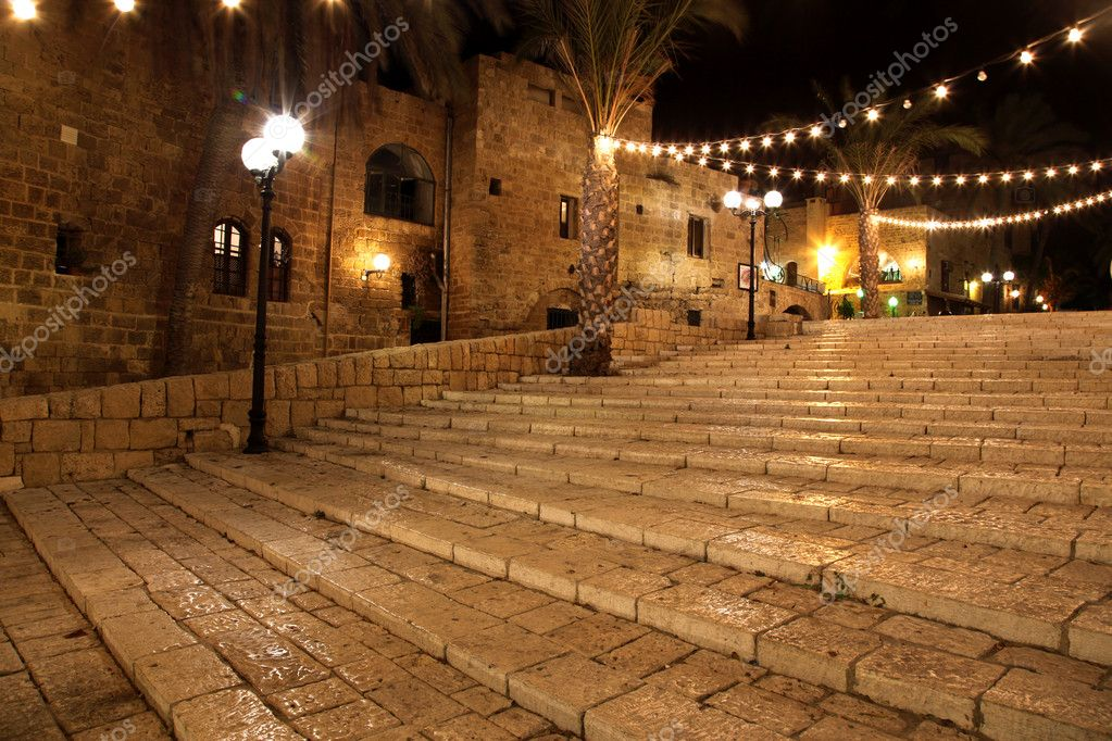 Old street of Jaffa city, Tel Aviv in the night, Israel  Stock Photo #4321510