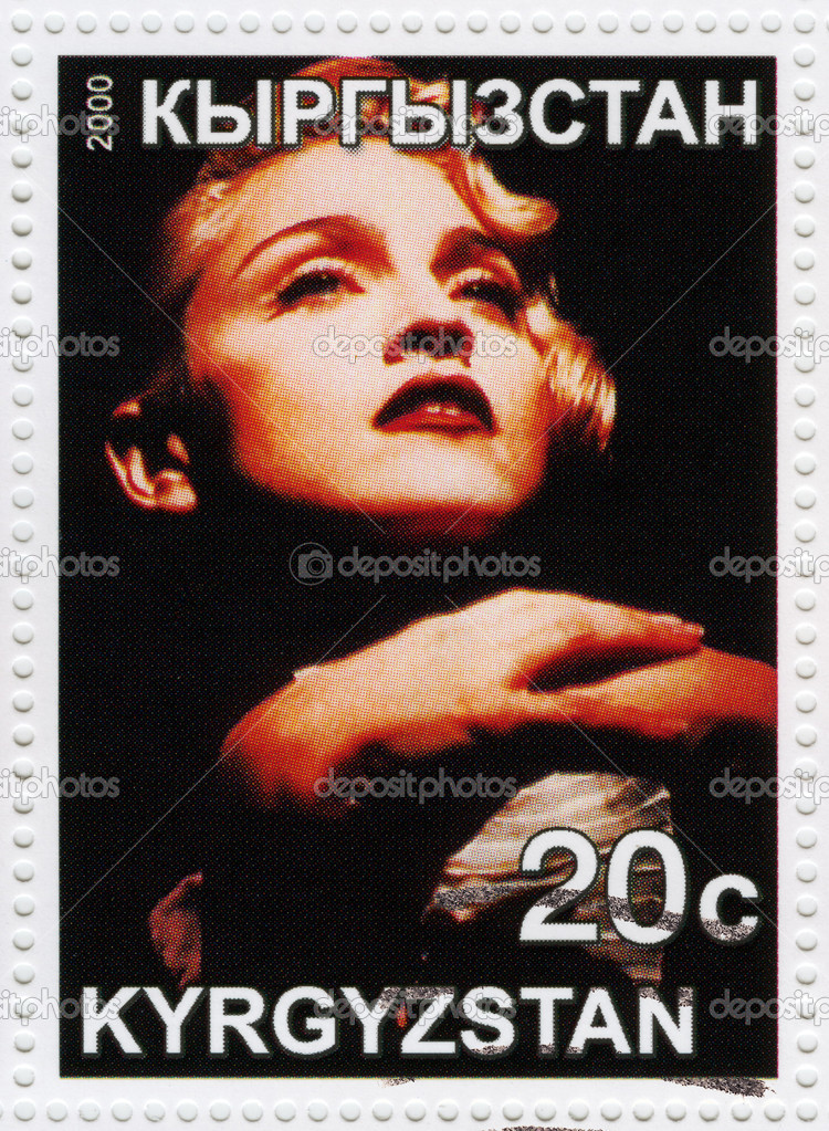 Stamp printed in Kyrgyzistan with Madonna american pop singer and actress, circa 2000  — Stock Photo #4377904